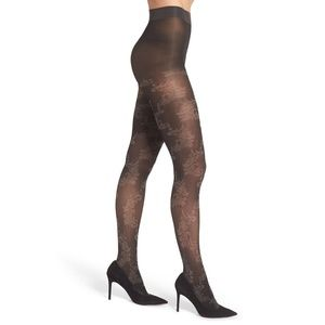 Natori Feathers Opaque Black Gray Tights